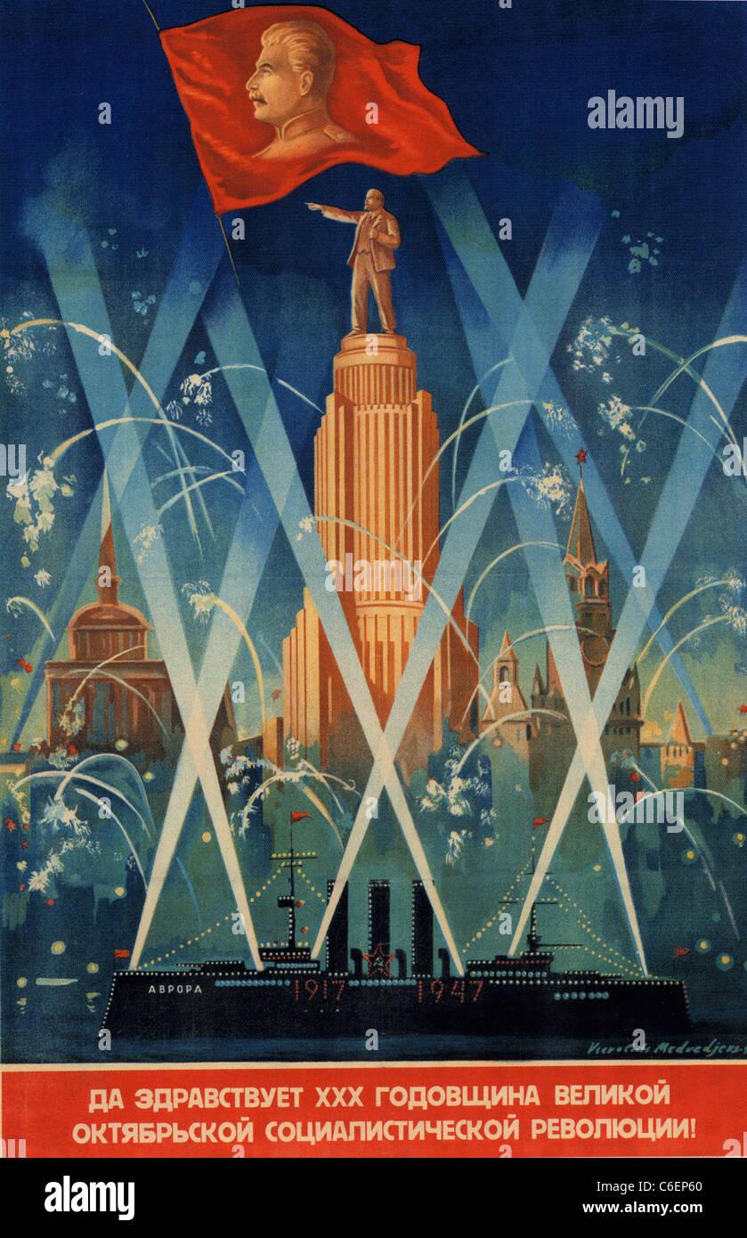 30. Feier der Oktober REVOLUTION Plakat 1947 Stockbild