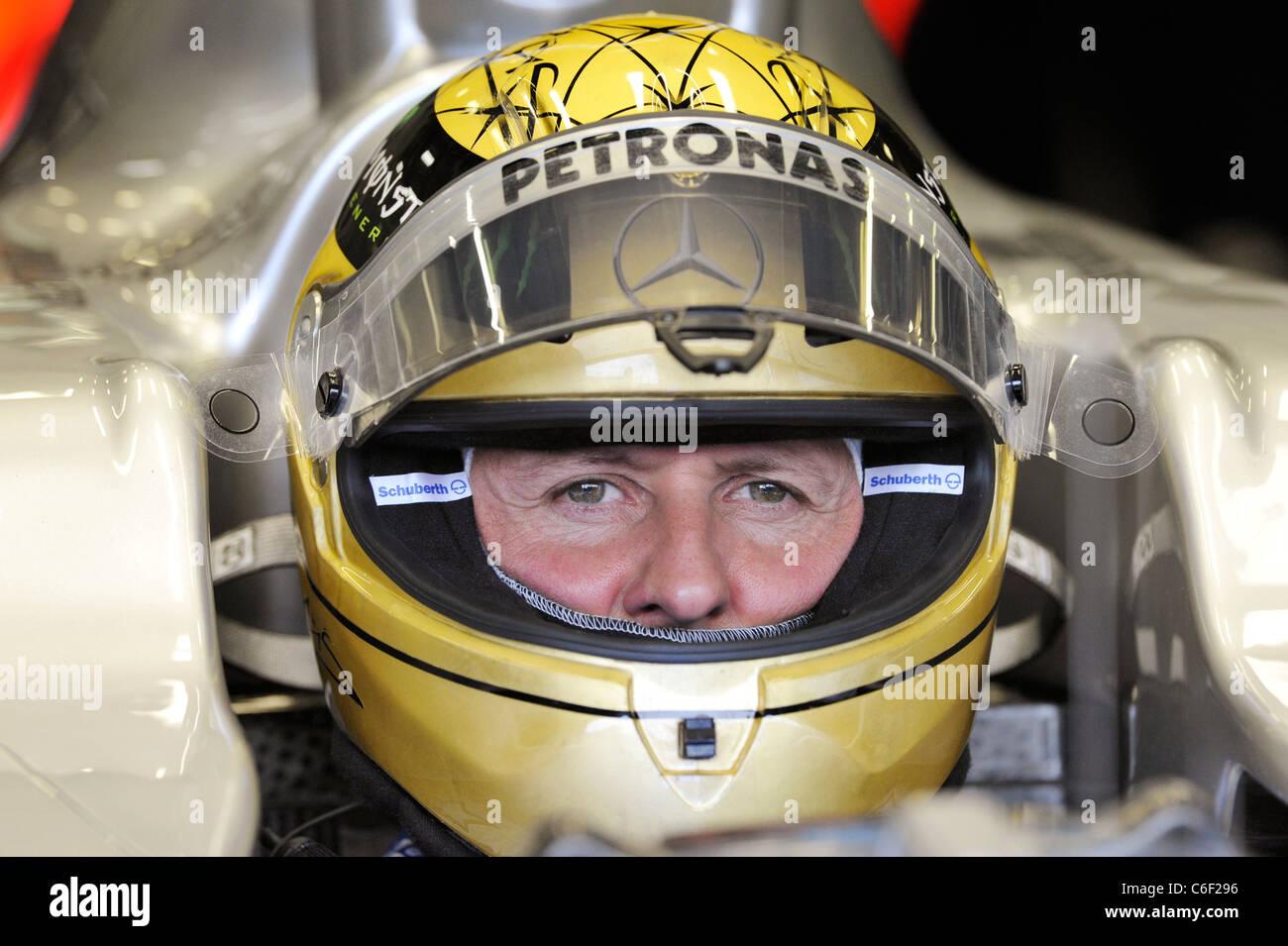Michael Schumacher Mercedes Tragen Goldene Hochzeit Helm Stockfoto