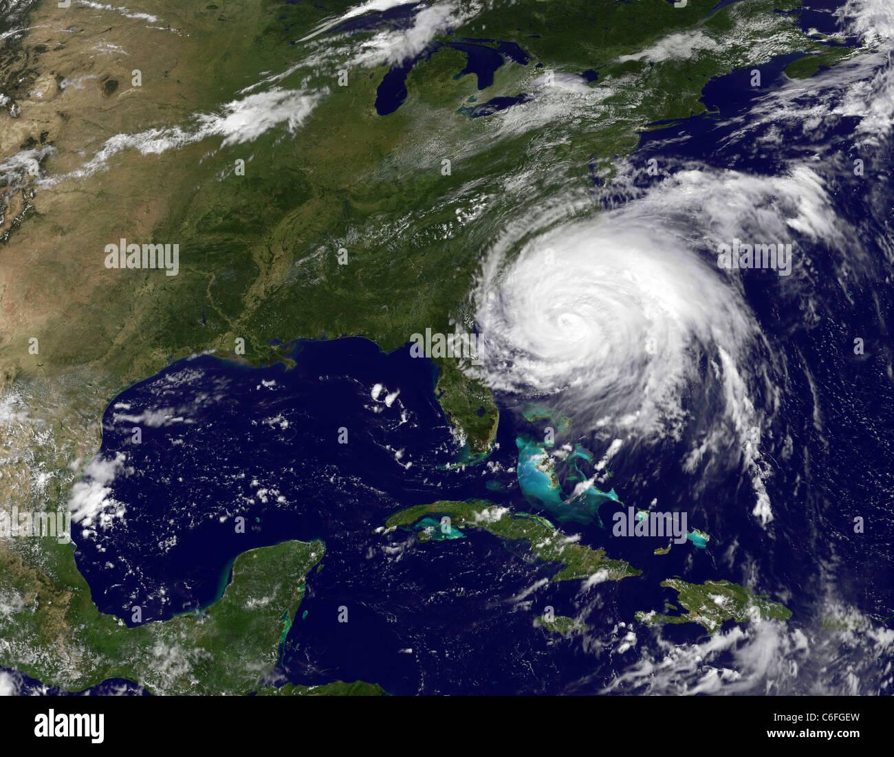 Hurrikan Irene über die Ost-Küste Amerikas Stockbild