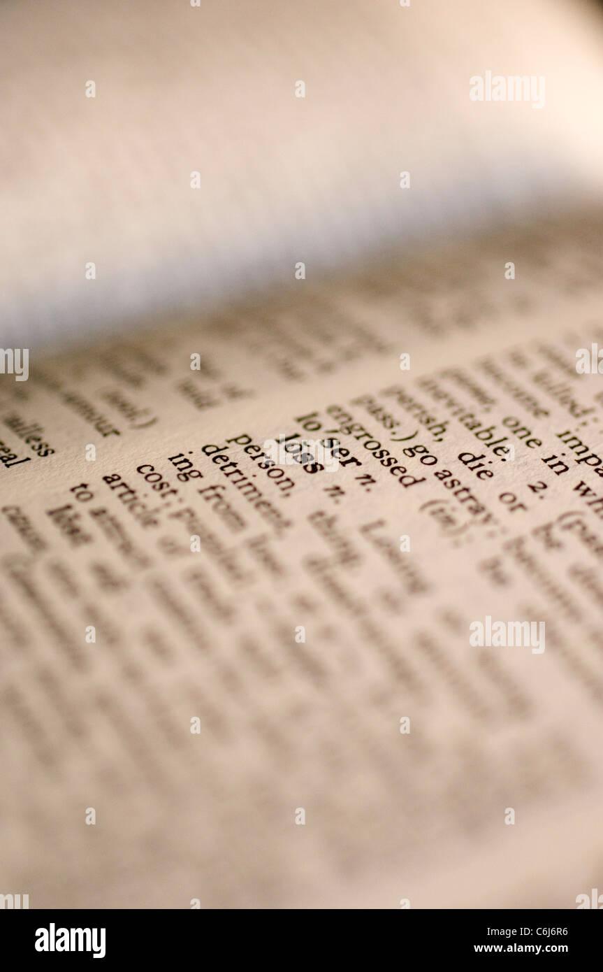 """Nahaufnahme von dem Wort """"Verlust"""" in einem Wörterbuch Stockbild"""