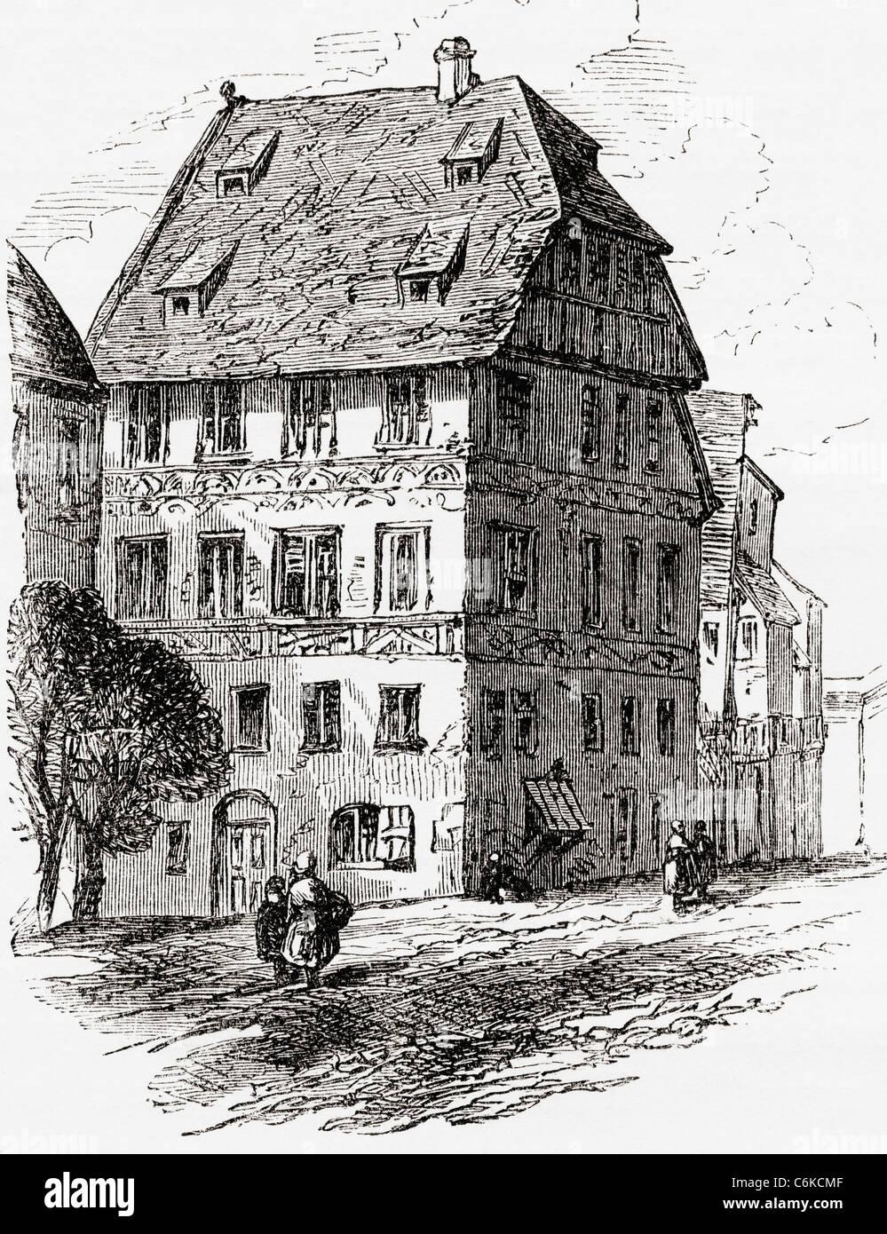 Albrecht Haus, Nürnberg, Bayern, Deutschland im 19. Jahrhundert. Stockbild