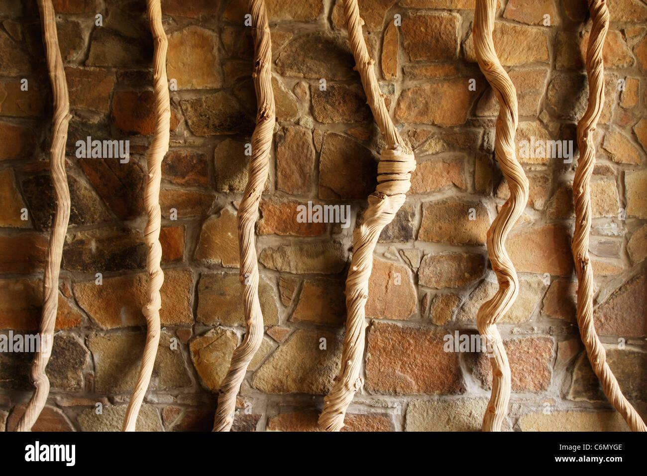 Verdrehte Seile hängen gegen eine Steinmauer Stockbild