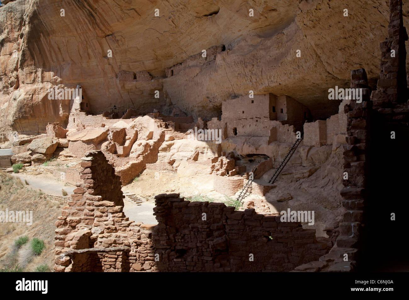 Die lange Haus Cliff Behausung im Mesa Verde National Park Stockbild