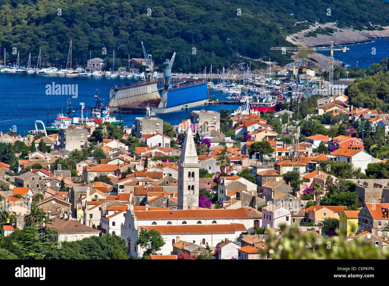 Panoramablick - Stadt Mali Losinj Stockbild