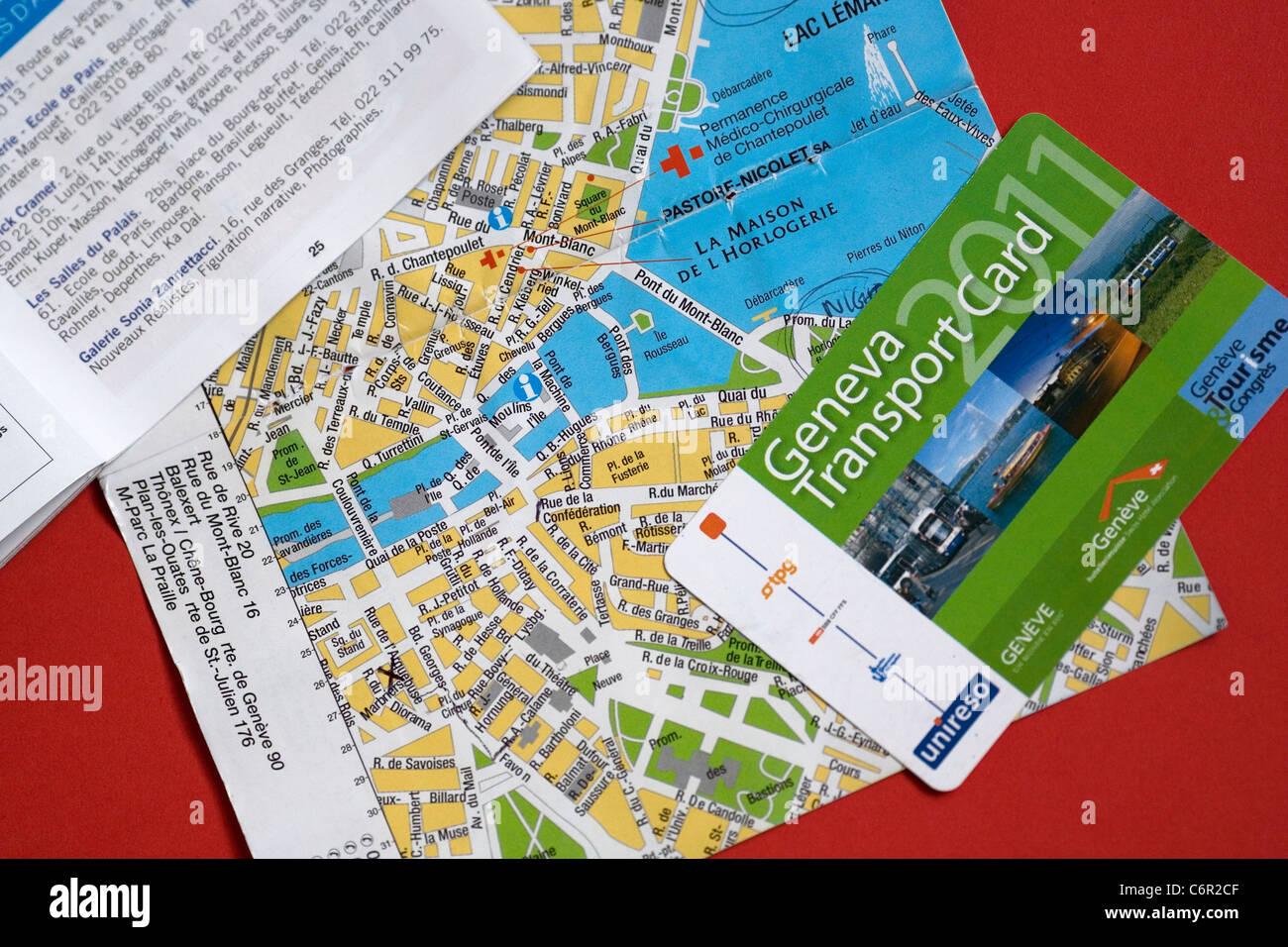 Geneva Transport Card und Straßenkarte Stockfoto, Bild ...
