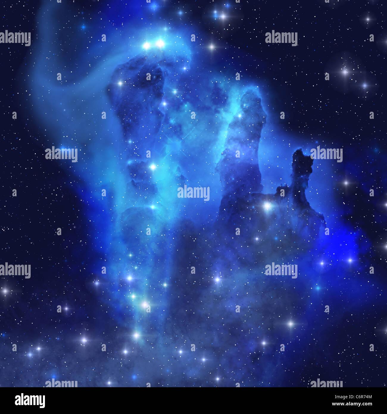 Die brillante Blues dieser Sterne und Nebel Leuchten im gesamten Kosmos. Stockbild