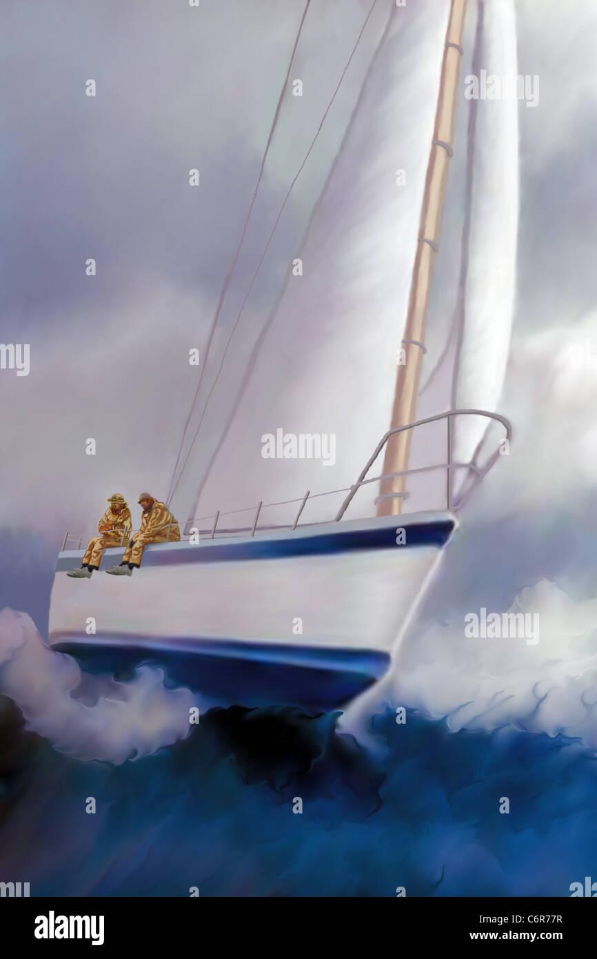 Zwei Matrosen genießen Sie die Aufregung der Seegang und die Fahrt eines Segelbootes über Krängung. Stockbild