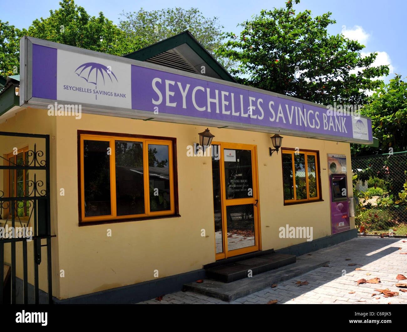 Seychellen-Sparkasse Filiale, La Digue Island Seychellen. Stockbild