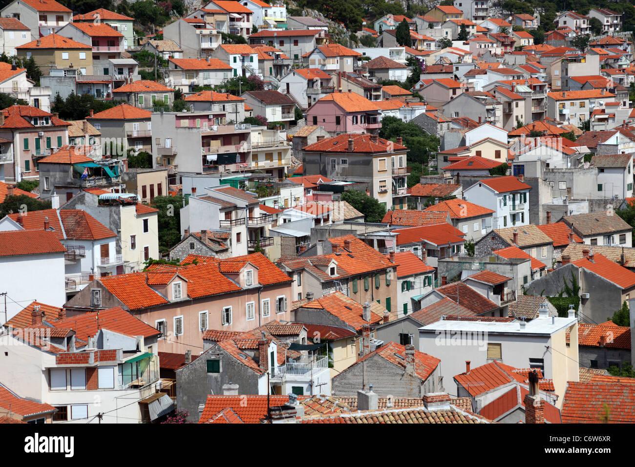 Die Dächer von Sibenik, Kroatien Stockbild