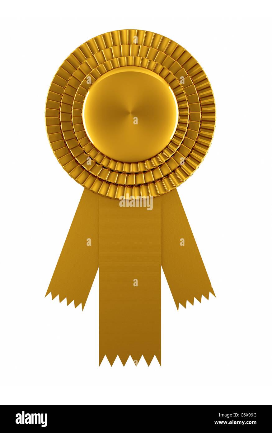 Goldene Auszeichnung Band isoliert auf weißem Hintergrund Stockbild