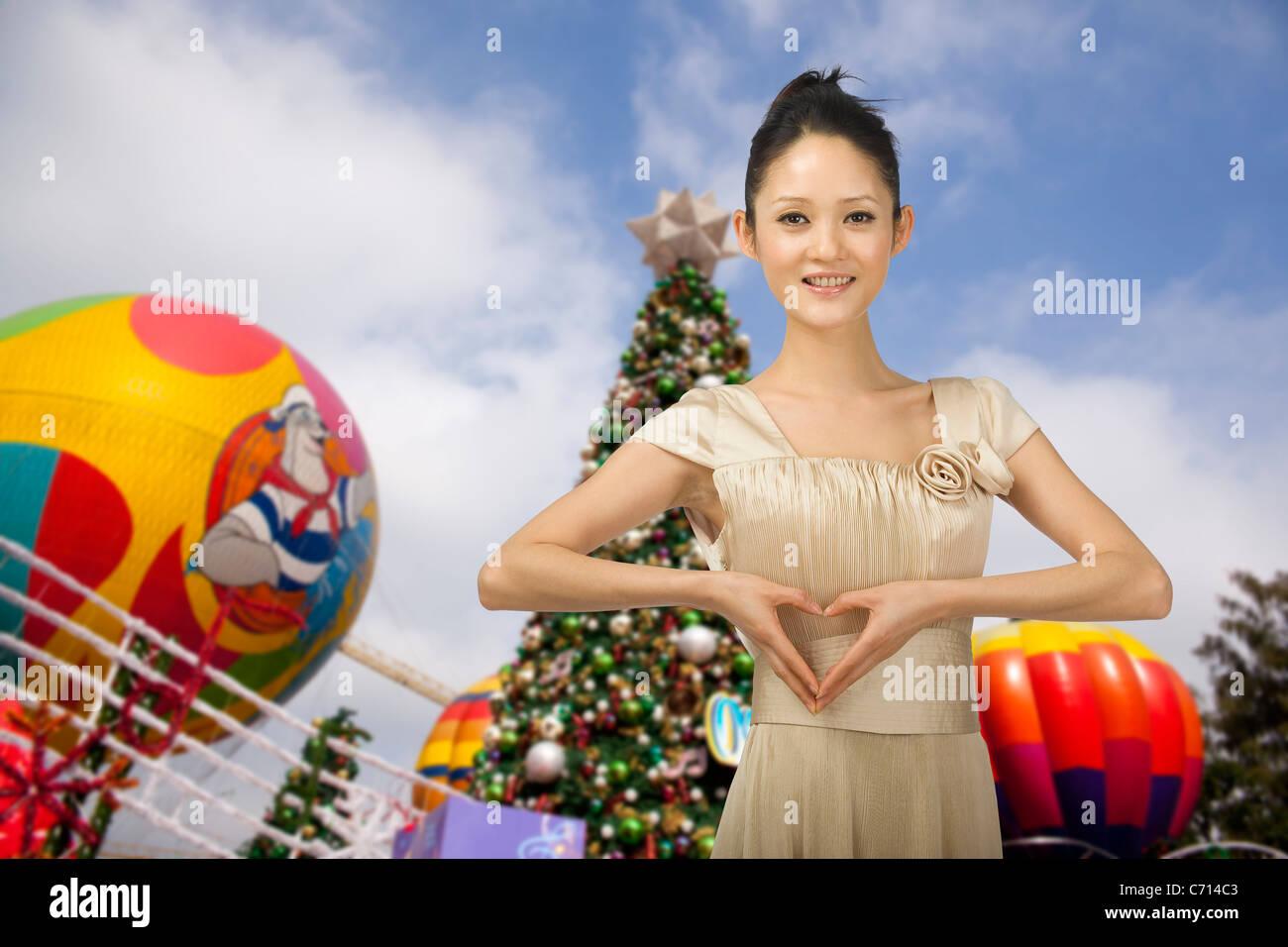 Computer-generierte Frau und Hintergrund Stockbild