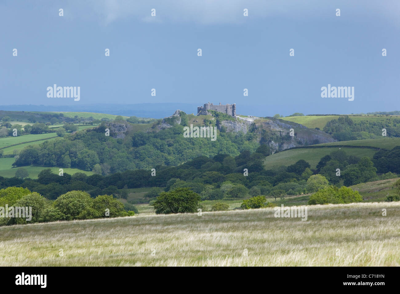 Position Cennen Castle. Brecon Beacons National Park. Carmarthenshire. Wales. VEREINIGTES KÖNIGREICH. Stockbild