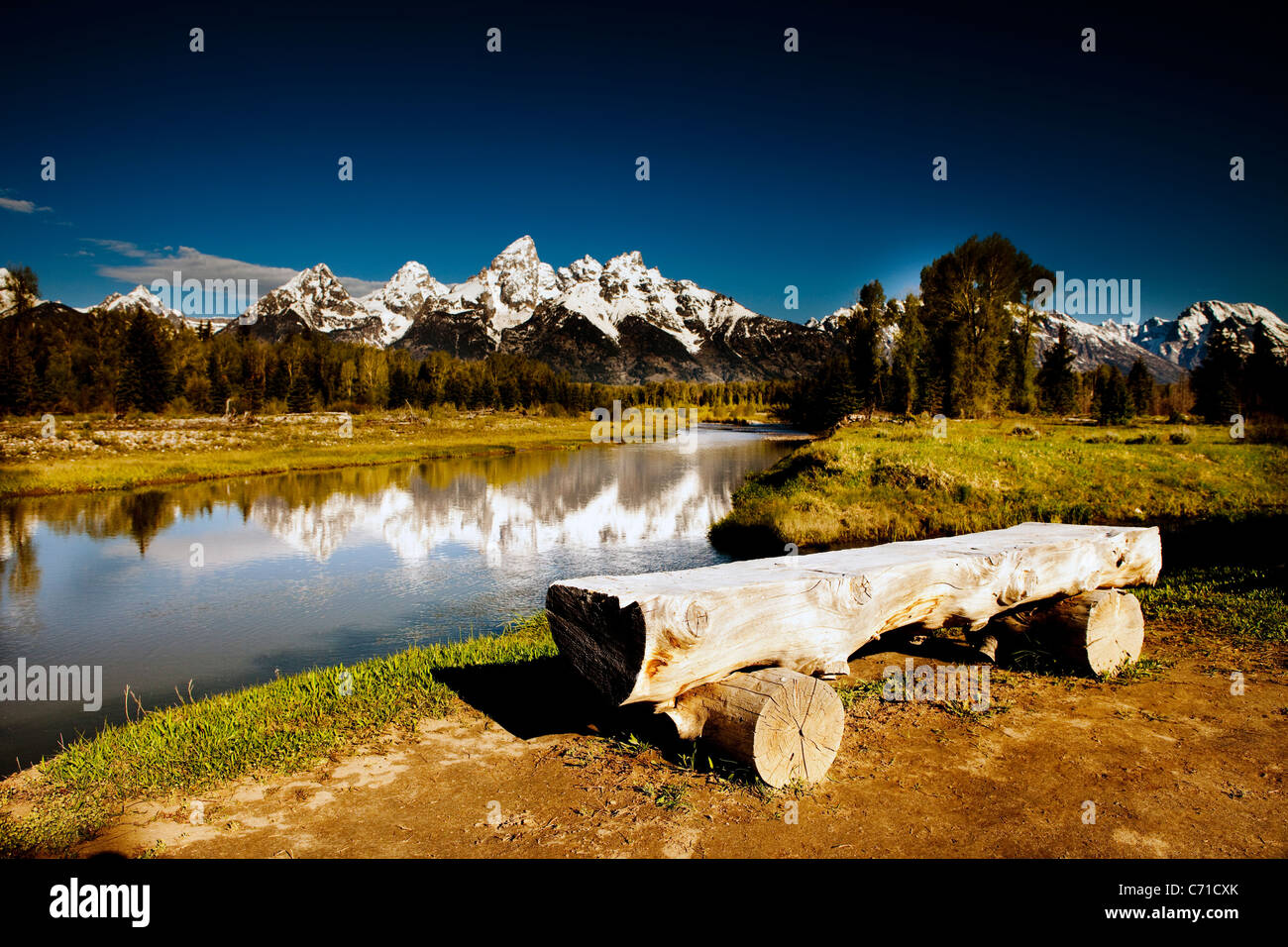 Grand Teton in Jackson Hole Wyoming bei Sonnenaufgang. Stockbild