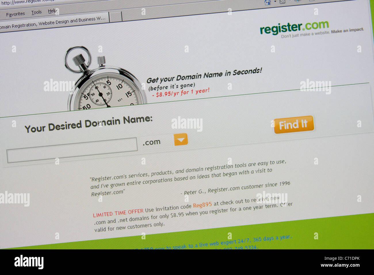 Domain-Namen online registrieren Stockbild