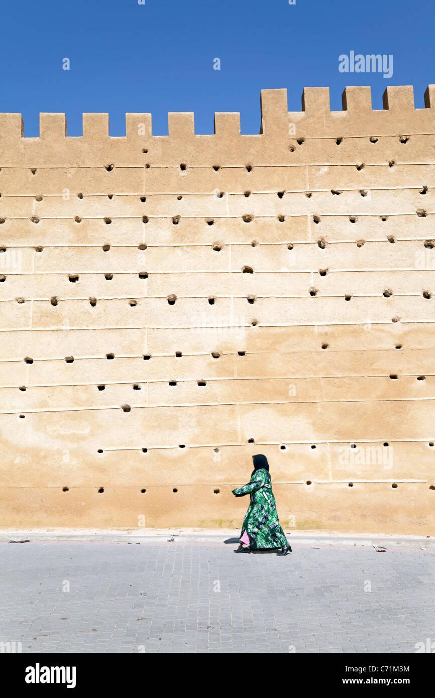 Mittelalterlichen Stadtmauer der Altstadt, Fes el Bali, Fes, Marokko, Nordafrika Stockbild
