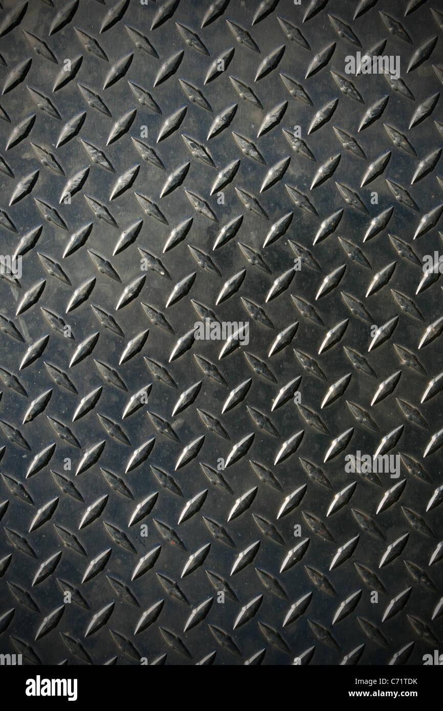 Diamant Lauffläche Stahl Hintergrundtextur mit leichten vignette Stockbild