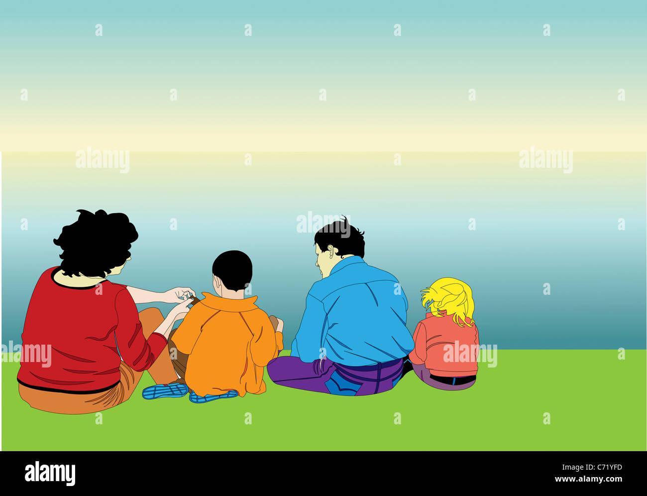 Familie mit einem Picknick Stockfoto