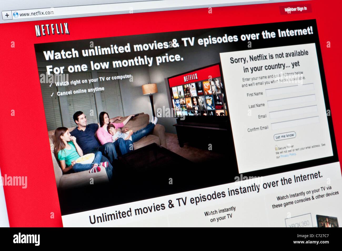 Nahaufnahme von der Netflix-Logo auf ihrer Website gesehen. (Nur zur redaktionellen Verwendung: print, TV, e-Book Stockbild