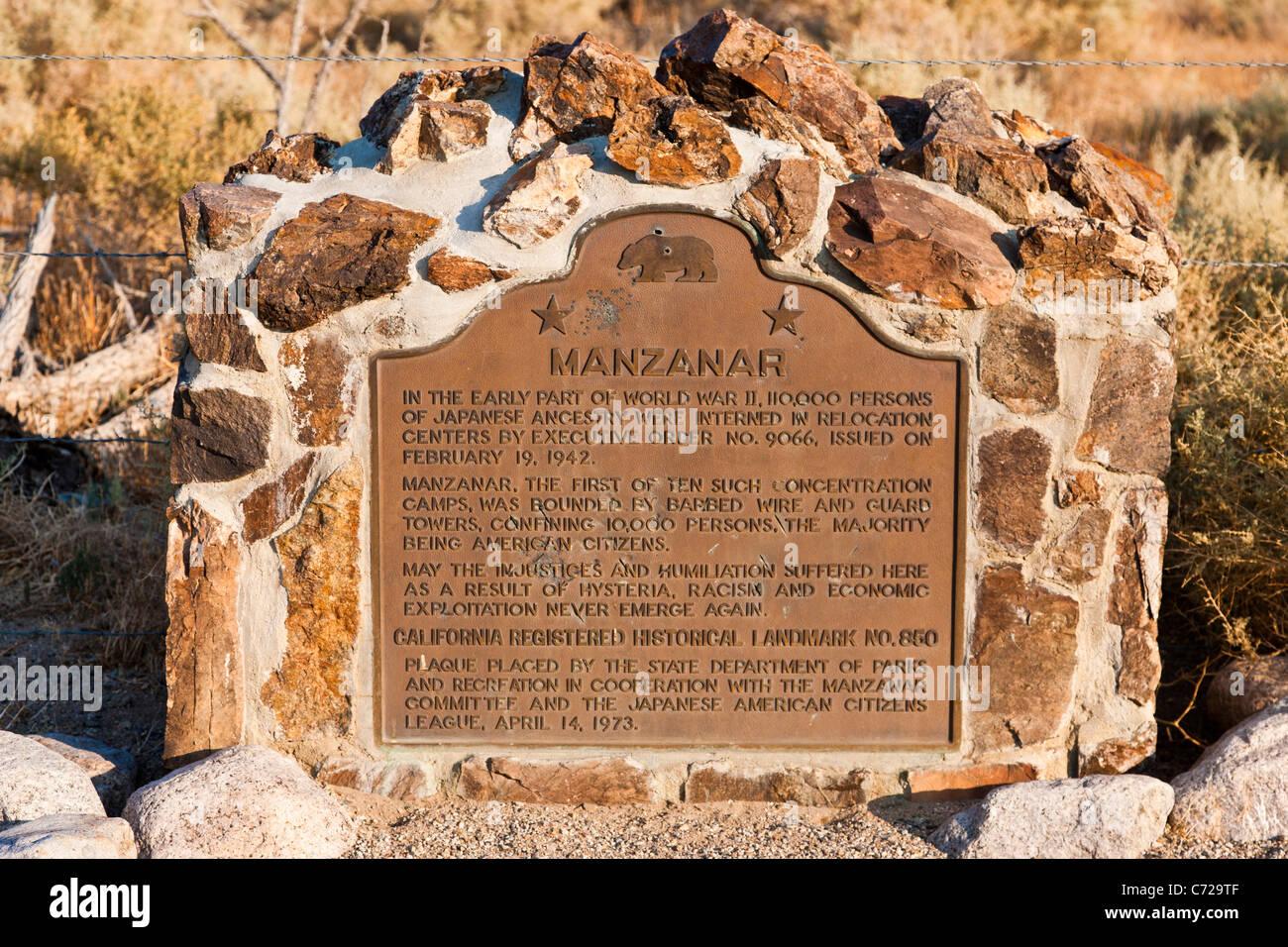 Gedenktafel am Manzanar War Relocation Center, Unabhängigkeit, Kalifornien, USA. JMH5303 Stockbild