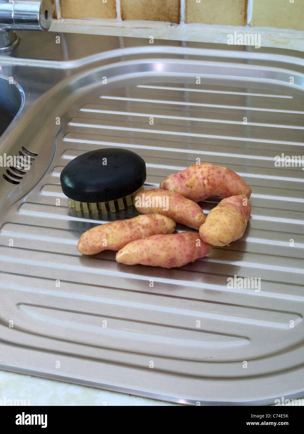 Frisch Spüle geschrubbt Frühkartoffeln (rosa Fell Apfelsorte) mit ...