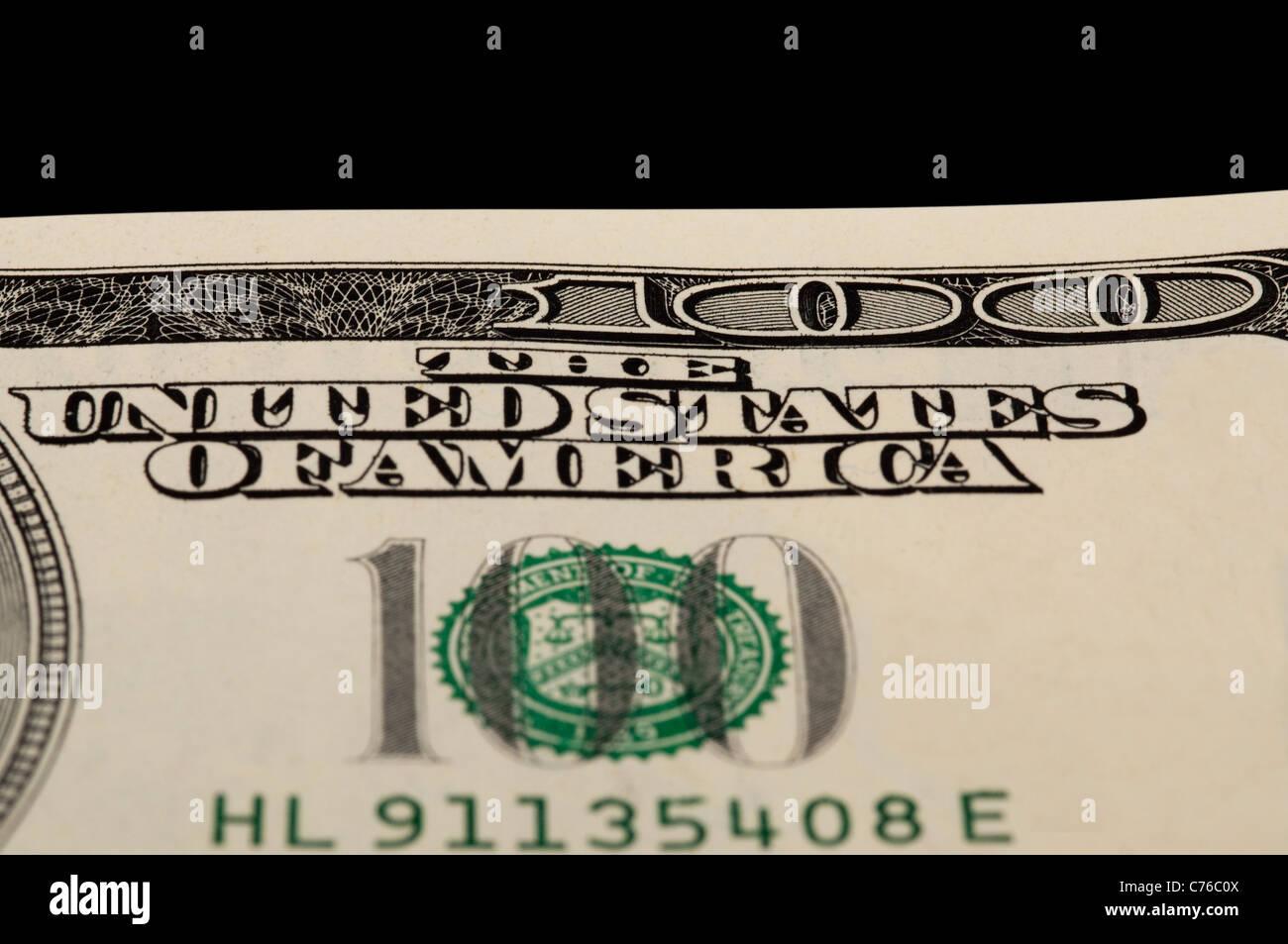 Makroaufnahme einer Ecke von 100 US-Dollar bill Stockbild