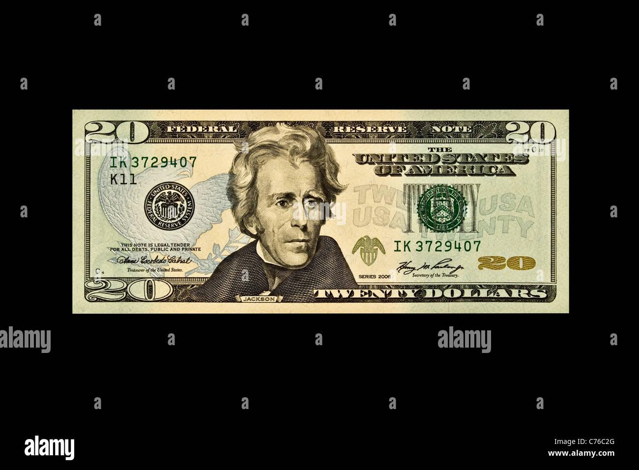 Einzigen 20 US-Dollar bill isoliert auf schwarz Stockbild
