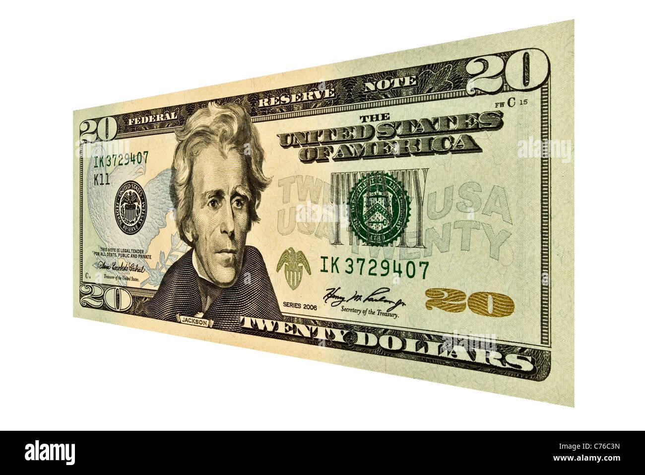 Einzigen 20 US-Dollar bill isoliert auf weiss Stockbild