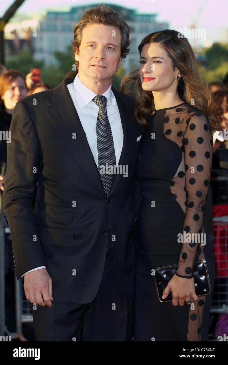 Bild zeigt Livia Giuggioli; Colin Firth Teilnahme an den UK Film Premier für Tinker, Tailor, Soldier, Spy auf Stockbild