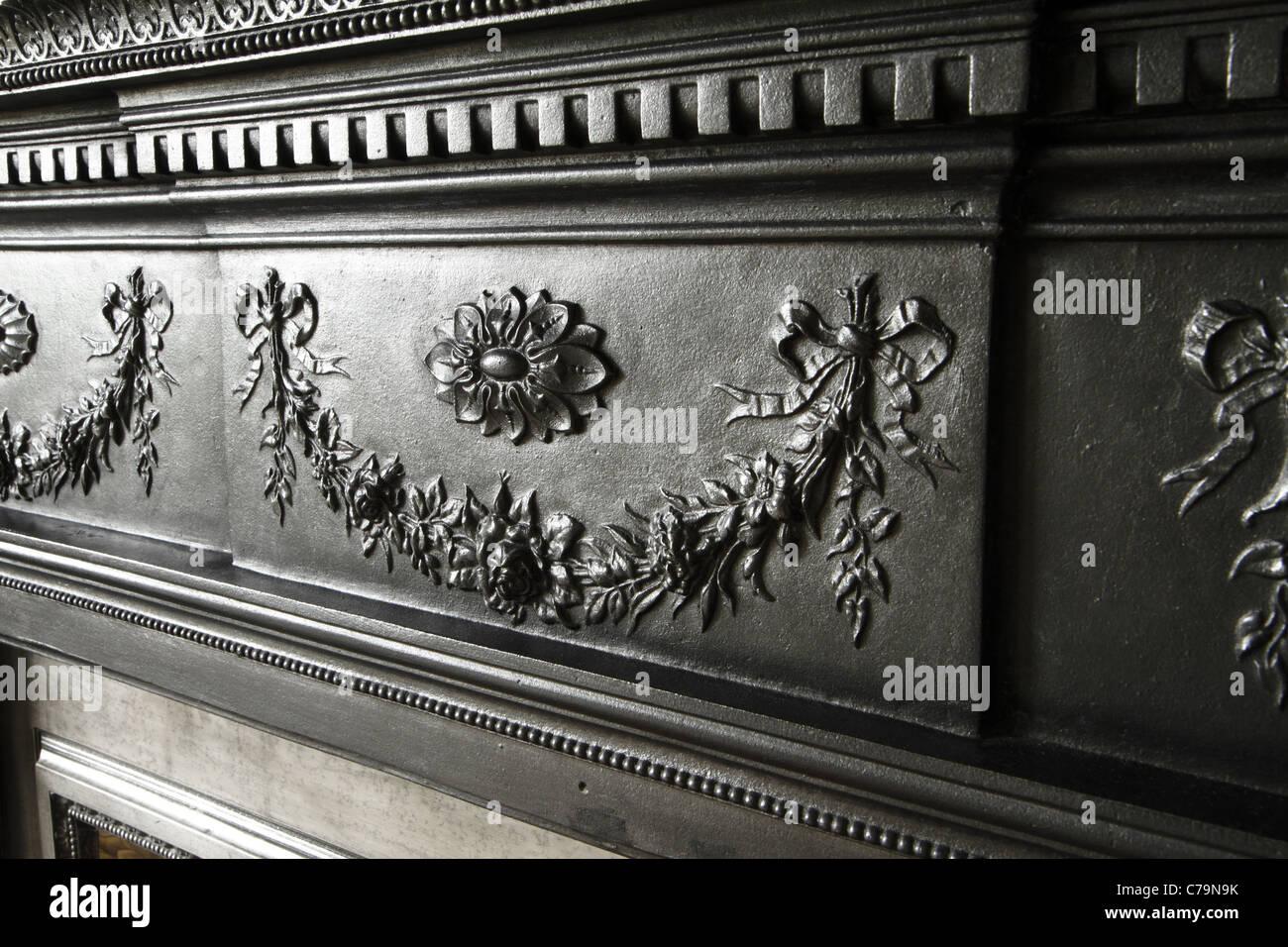 Viktorianische Gusseisen Kamin detail Stockbild