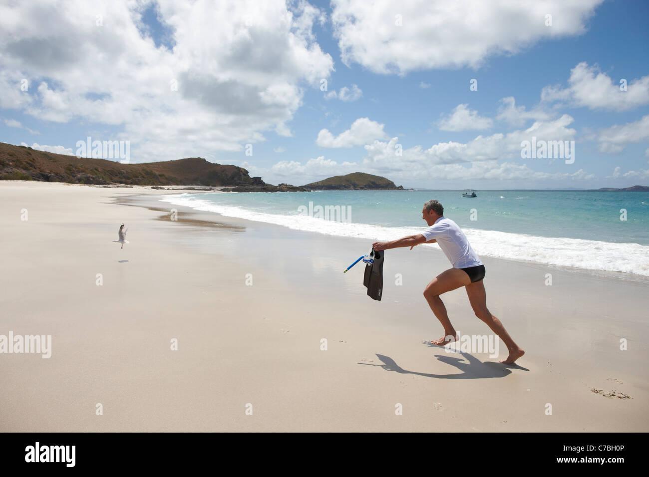 Touristen mit Schnorchelausrüstung auf Middle Island Strand Insel neben Great Keppel Island Great Barrier Reef Stockbild