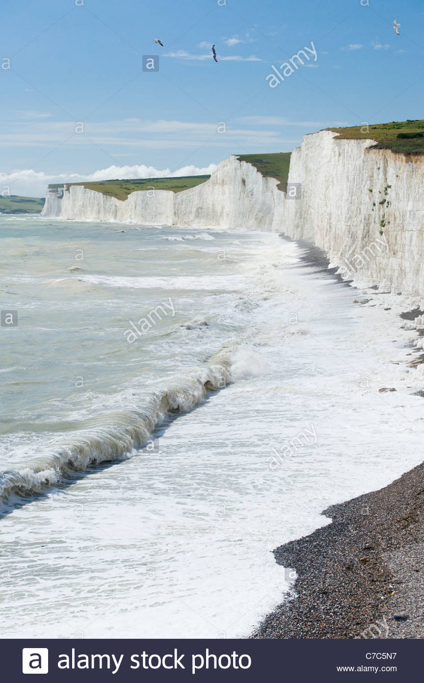 Die Seven Sisters Klippen von Birling Gap, South Downs National Park, East Sussex, England. Stockbild