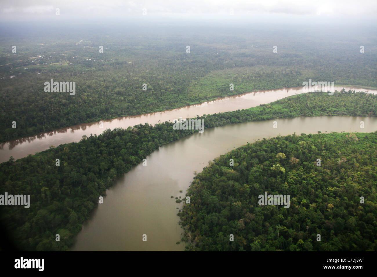 Fliegen Sie Fluss, Regenwald, Western Province (Papua-Neuguinea) Stockbild