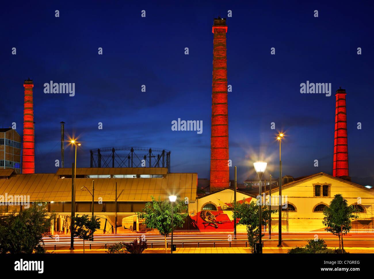 """Die alte Fabrik Gaz (Gas), heute die """"Technopolis"""" (""""Stadt der Künste"""") von Athen, Griechenland Stockbild"""