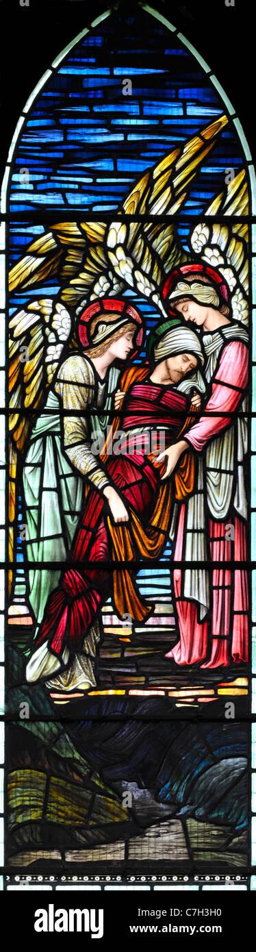 """""""Engel tröstet die Seele von Moses"""" von Edward Burne-Jones Stockbild"""