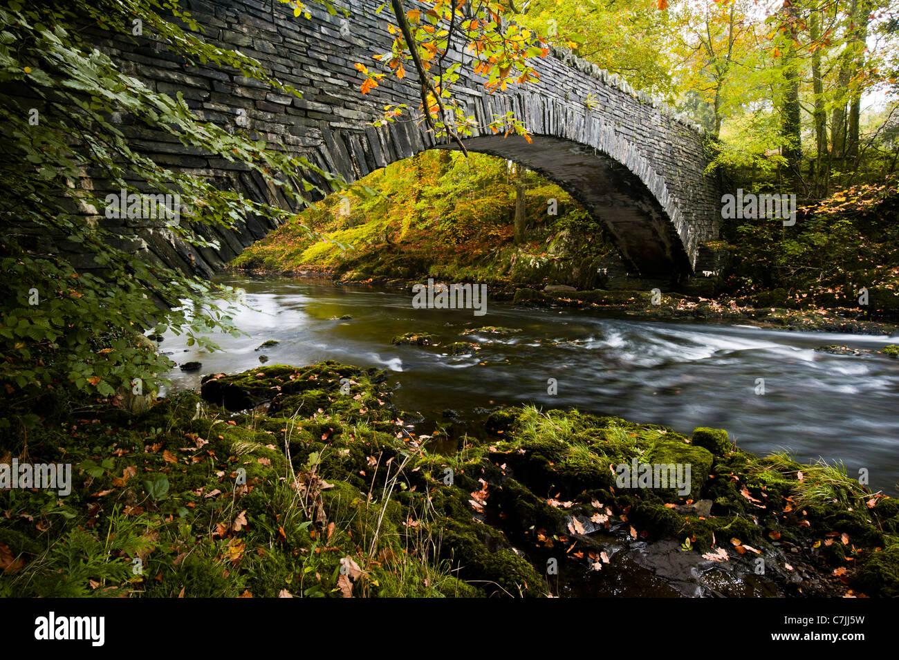 Stein-Steg über einen kleinen Fluss im Herbst, Lake District, England, UK Stockbild