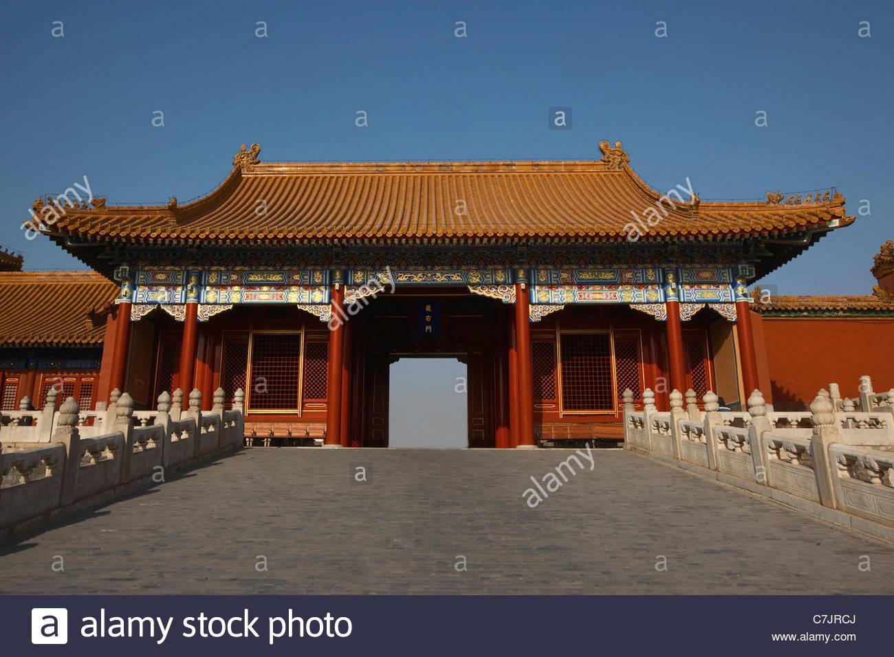 Reich verzierte chinesische Gebäude mit Innenhof Stockbild