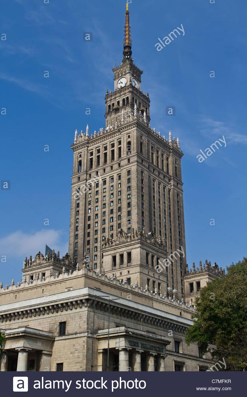 Palast der Kultur und Wissenschaft, Warschau Stockbild