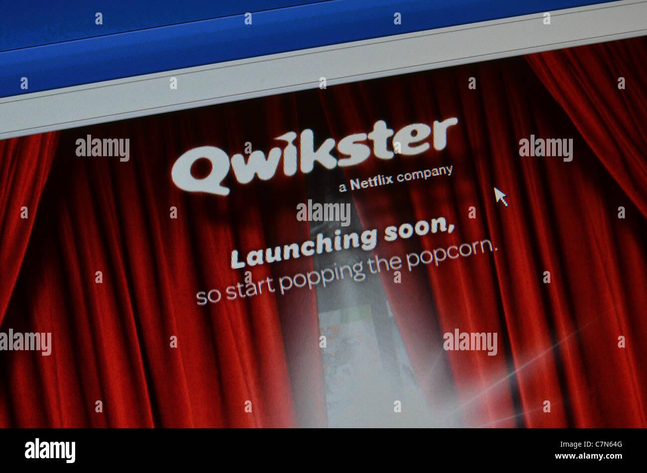 Qwikster neue Startseite für Netflix Stockbild