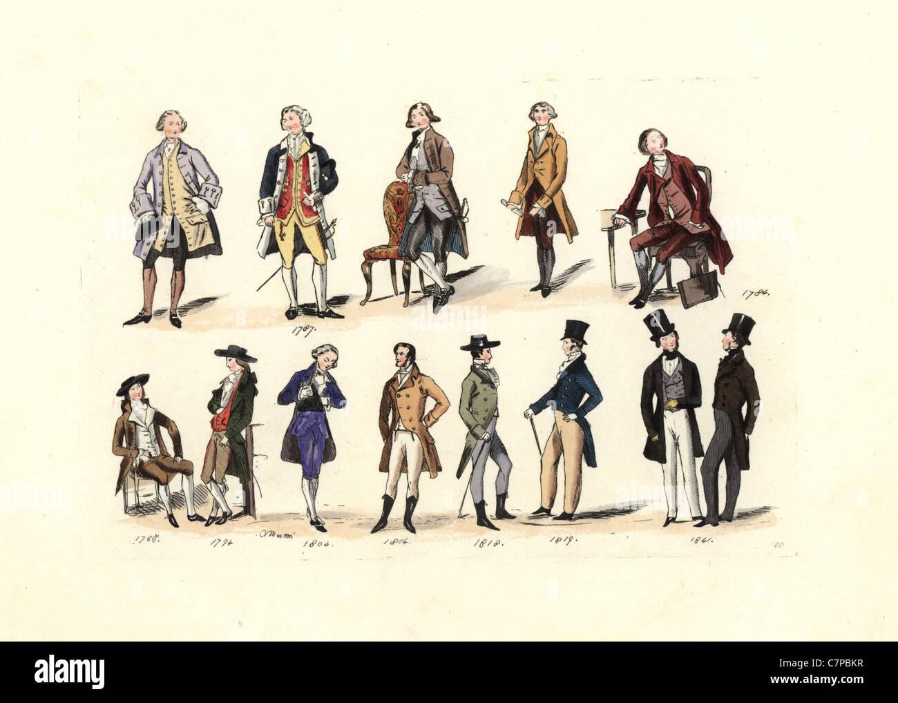 Männermode von 1787 bis 1841, von verschiedenen Porträts. Stockbild