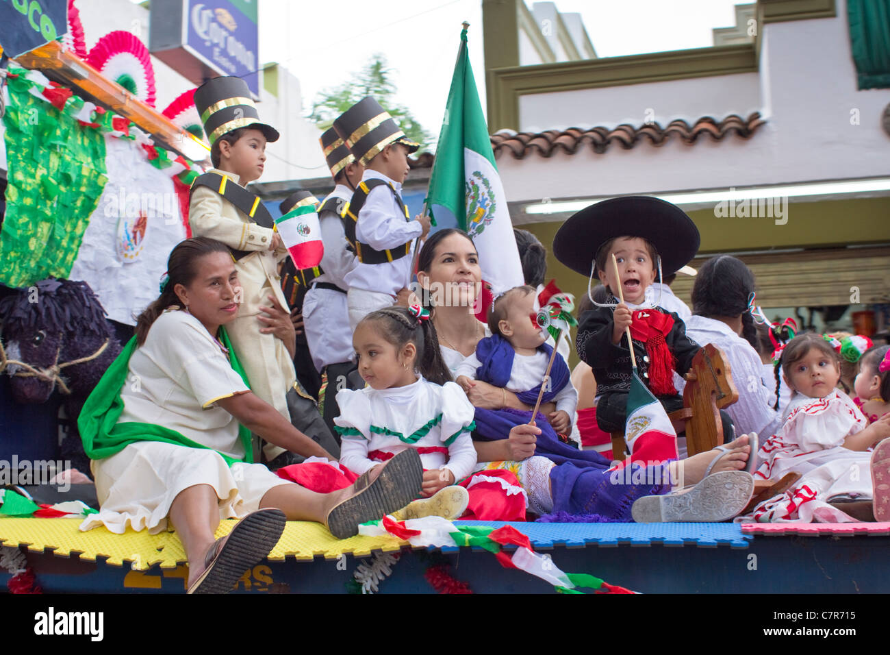 Mexikanische Unabhängigkeitstag (16. September) parade Float, Ajijic, Chapala, Jalisco, Mexiko. Stockbild