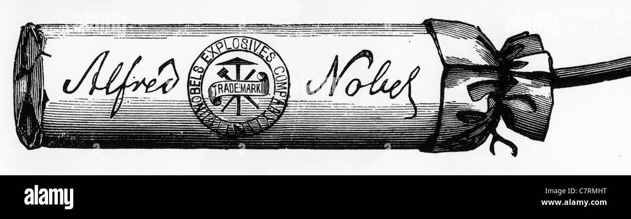 ALFRED NOBEL (1833-1896)-Stick Dynamit aus einem amerikanischen Handel Katalog über 1870 Stockbild