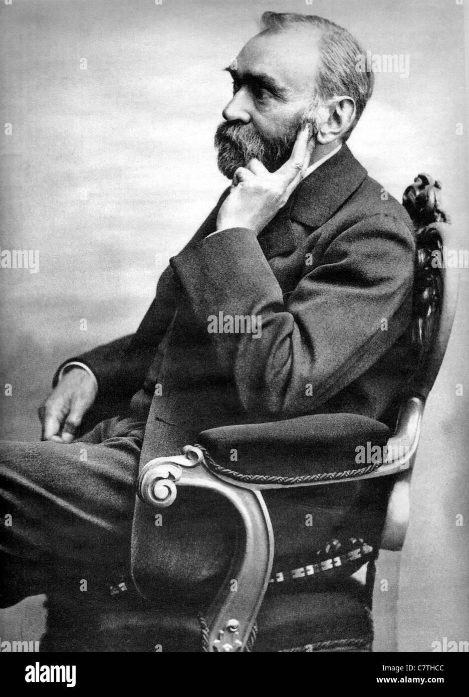 ALFRED NOBEL (1833-1896), schwedischer Chemiker und Erfinder des Dynamits Stockbild