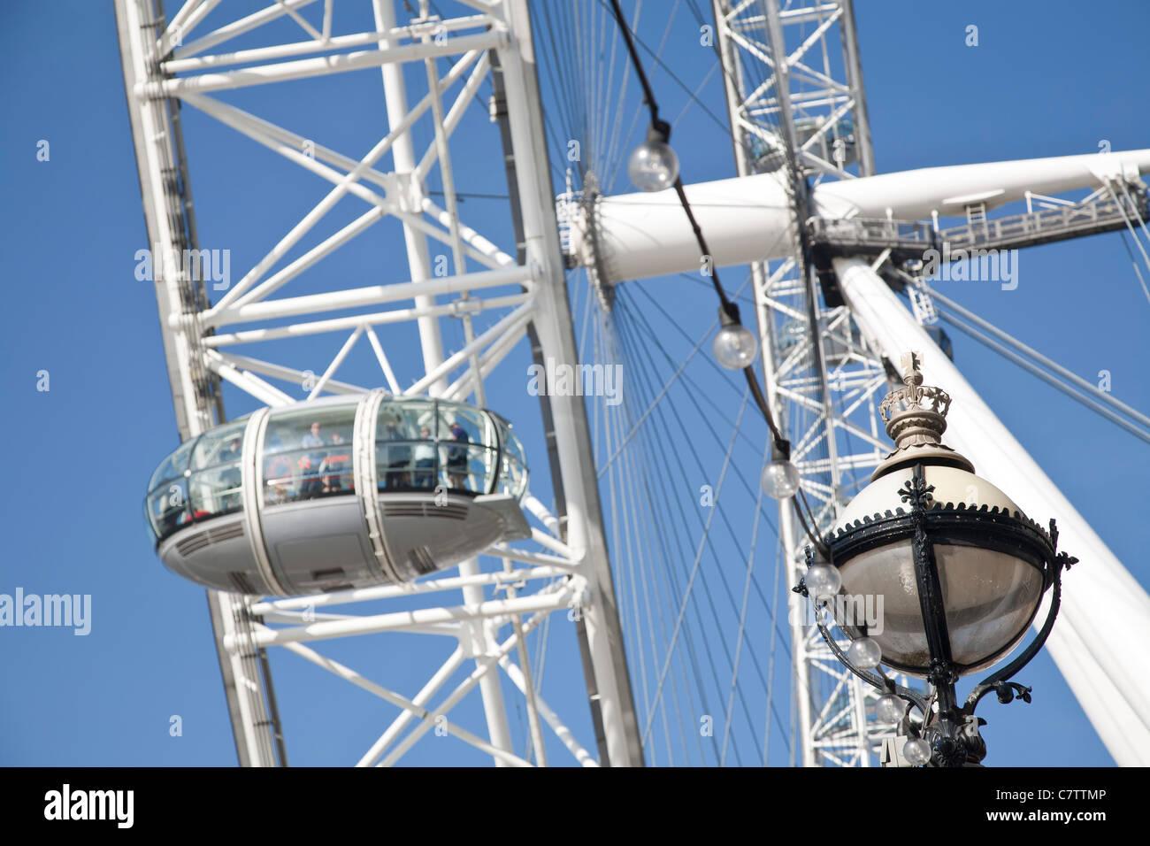 Passagier-Kapsel mit dem London Eye, dem Millennium Wheel Stockbild