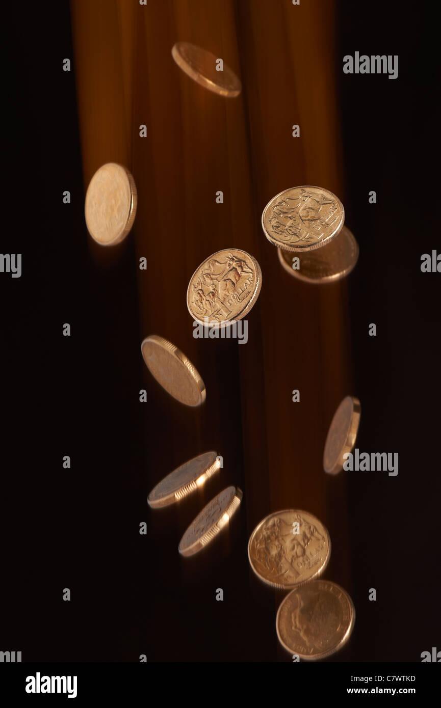 Australischer Dollar-Münzen fallen Stockbild