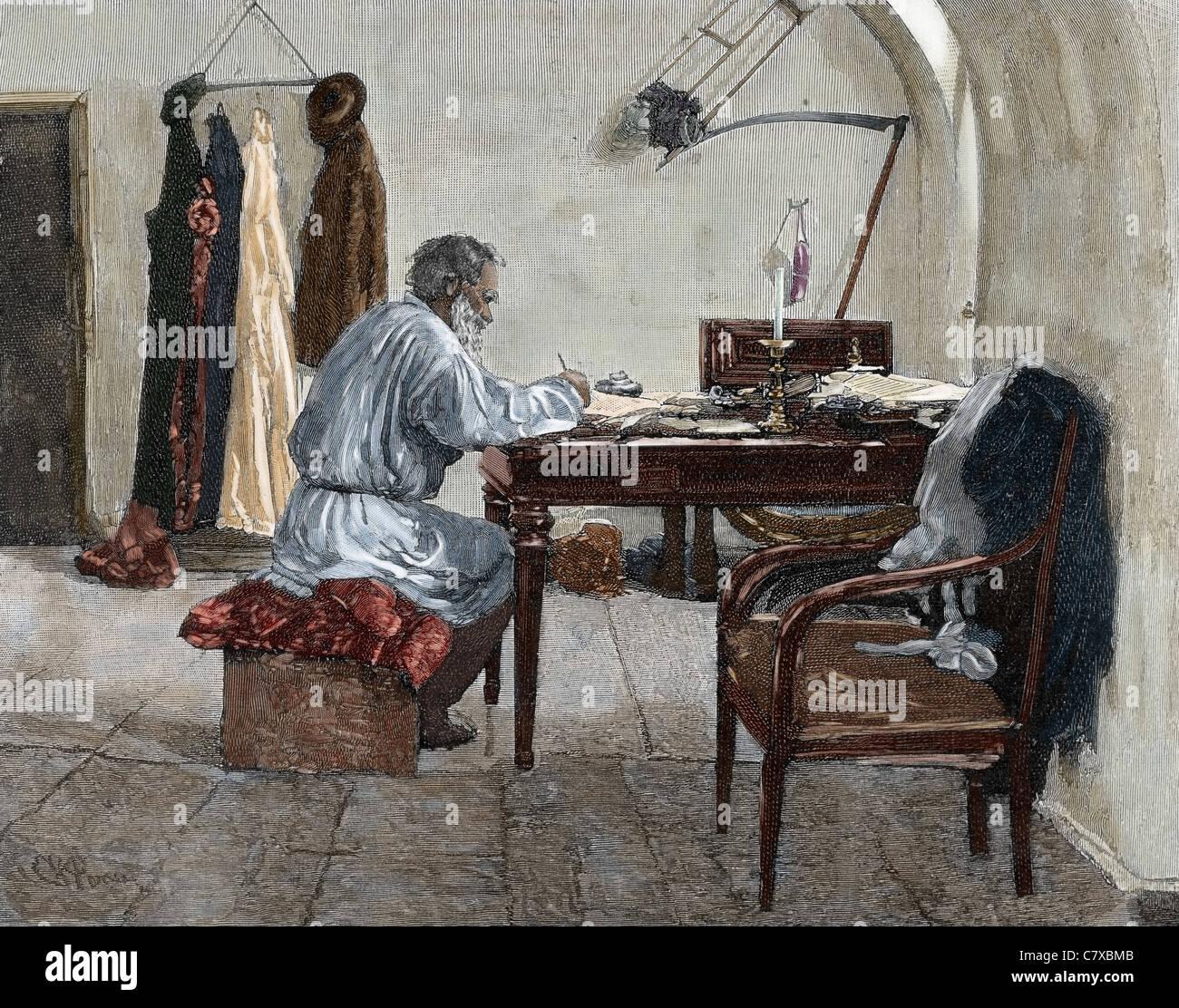 Leo Tolstoi (1828-1910). Russischer Schriftsteller. Totlstoy in seinem Arbeitszimmer. Stockbild