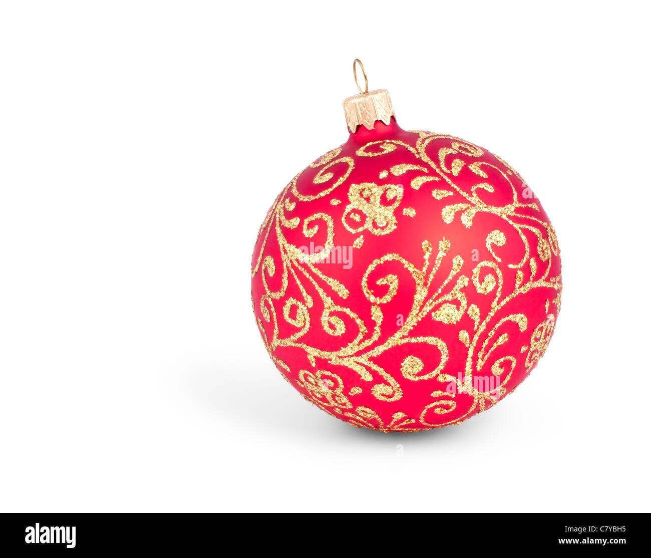 Traditionelle Weihnachts-Ball isoliert auf weißem Hintergrund Stockbild