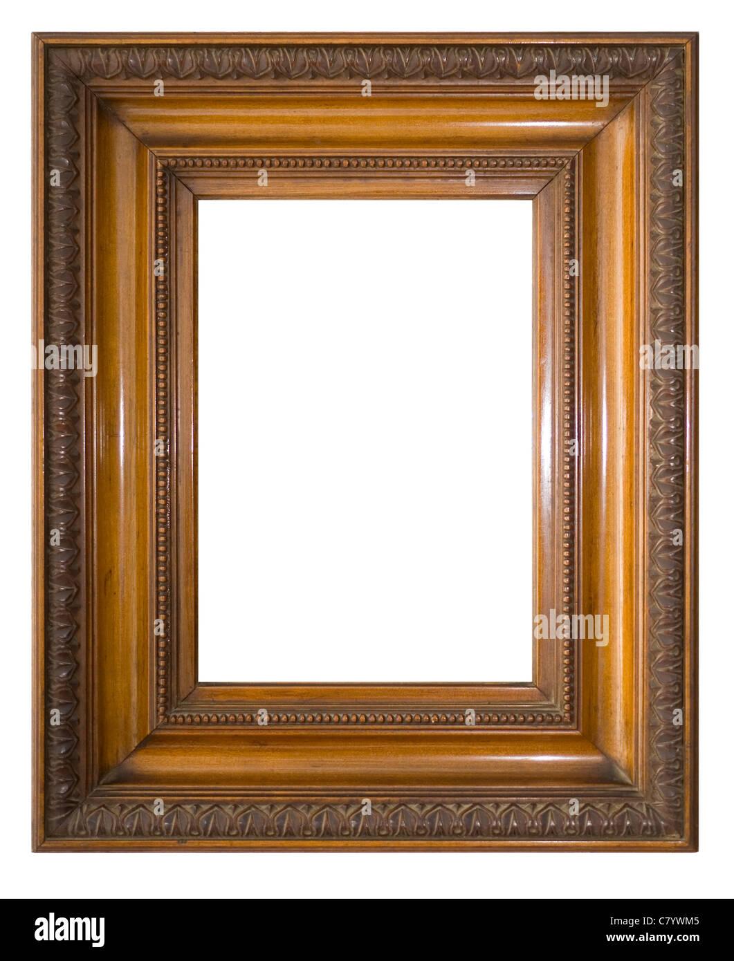 Eine antike viktorianische Bilderrahmen, isoliert auf weiss mit Beschneidungspfad. Stockbild
