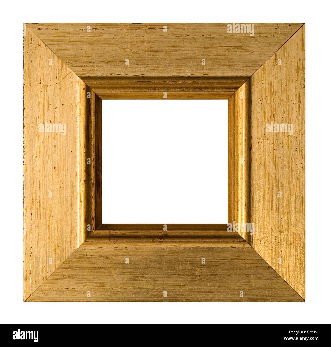 Ein Quadrat gold Bilderrahmen, isoliert auf weiss mit ...