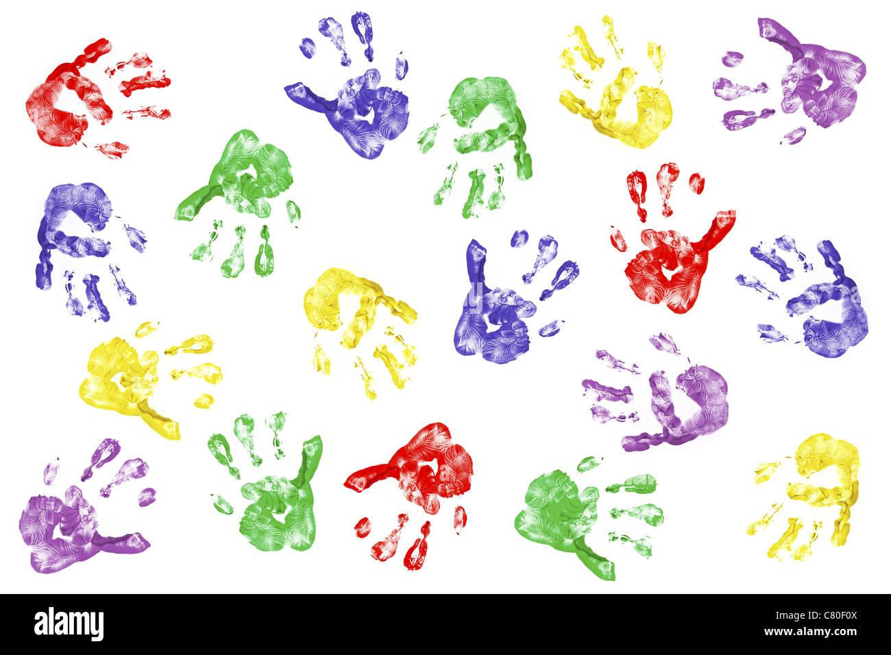 Kinder Handabdrücke mit Fingerpaint isoliert auf weiss Stockbild