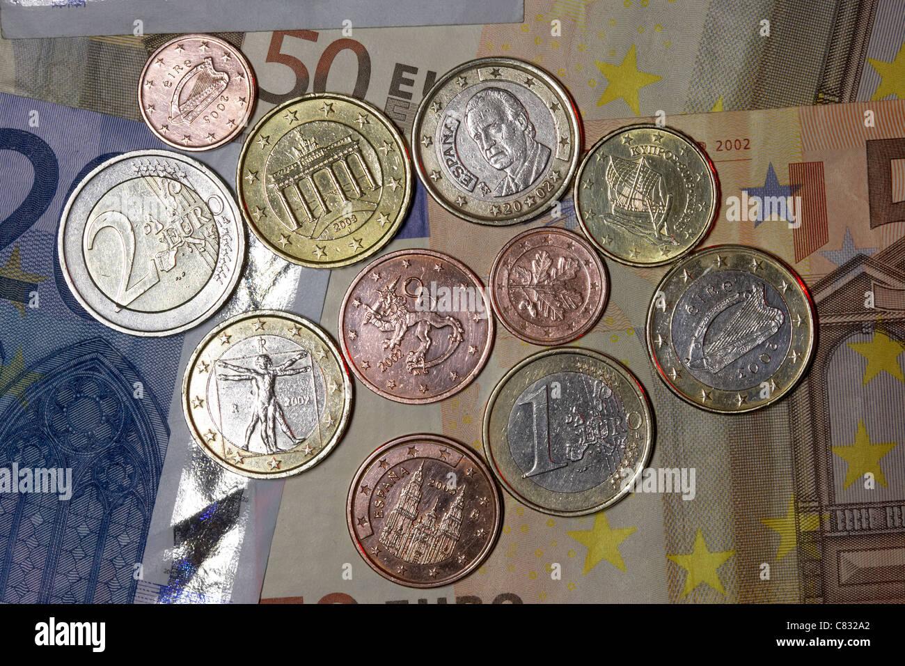 Verschiedenen Ländern Euro Banknoten Und Münzen Euro Aus Spanien